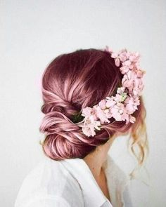 Pink hair with flower crown
