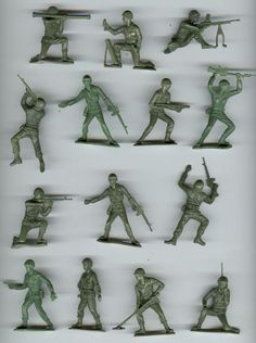 Little toy soldiers. My mom was very much against us playing army. So of course I bought dozens of these.