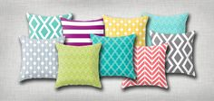 Cute patterned and colored throw pillows. Only $20. The Petite Pear design shop.