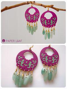 Paper Leaf - Colored Arabesque Avventurina - paper cotton earrings with avventurine