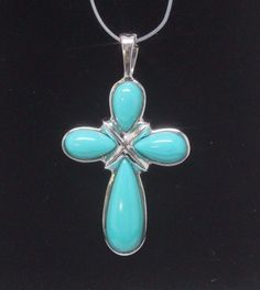 14k WHITE GOLD Cross Pendant/ Enhancer TURQUOISE Colored Stones + NECKLACE #Unbranded #Pendant
