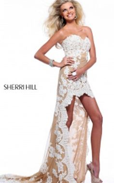 2014 Sherri Hill Floral Lace Prom Dress 21016 Ivory NudeOutlet