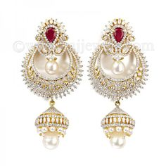 Colorless #Diamond Chand Bali | Popular indian jewelry in 18 karat two-tone gold finish with ruby and two interchangeable drop stones. These stunning #earrings will be the talk of the evening. See more at: https://www.rajjewels.com/designer-diamond-colorless-chand-bali-earring-s-pinterest-259.html