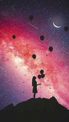 Image uploaded by aftx707. Find images and videos about people, girl and balloons on We Heart It - the app to get lost in what you love. Galaxy Wallpaper, Tumblr Wallpaper, New Wallpaper, Iphone 6 Wallpaper Backgrounds, Silhouettes, Galaxy Tumblr Backgrounds, Freedom Art, Galaxy Painting, Galaxy Art