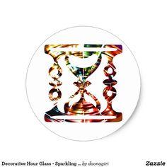 Decorative Hour Glass - Sparkling Red Design Classic Round Sticker