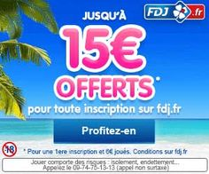 Opération bonus de la Française des Jeux : jusqu'à 15 euros offerts pour toute 1ère inscription et prise(s) de jeu.