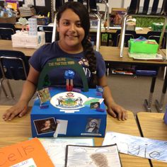 Angie's state project. States And Capitals, Social Studies, Classroom Ideas, Corner, Study, Science, Earth, Clouds, Teaching