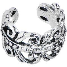 Silvery Swirling Leaves Ear Cuff | Body Candy Body Jewelry #BodyCandy