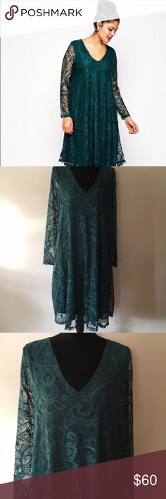 NWT Holiday Green Asos Curve Lace Shift Dress Absolutely stunning.  Deep green, all over Lace, fully lined except for the arms.  I love the sleeves!  Size 14, flattering and comfortable.  True to size but because it's a Shift Dress it fit me nicely too, I'm a Size 16 usually. Only selling because I went a little overboard with the holiday outfits and the party I bought it for was canceled. ASOS Curve Dresses