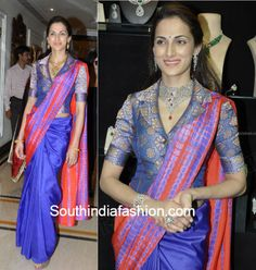 Shilpa Reddy has donned some trendy blouses with silk traditional sarees. Here are a few such trendy blouse designs of Shilpa Reddy with silk sarees