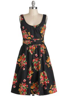 Flower the Leader Dress - Cotton, Mid-length, Black, Floral, A-line, Sleeveless, Multi, Daytime Party, Tis the Season Sale