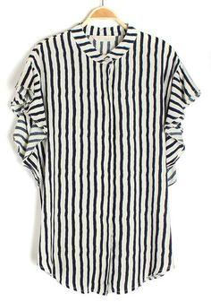 Blue Striped Falbala Lapel Short Sleeve Cotton Blouse