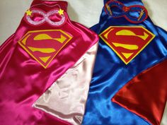 SuperMan and SuperGirl Brother Sister Matching Set Superhero Capes and Masks Choose any Superhero Batman BatGirl Wonderwoman etc. $37.00, via Etsy.