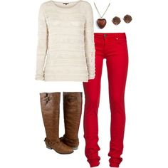 Red pants and brown boots. Today I actually am as stylish as I wish I was. Fall Outfits, Casual Outfits, Fashion Outfits, Fashion Ideas, Women's Fashion, Striped Long Sleeve Shirt, Long Sleeve Shirts, Christmas Fashion, Winter Fashion