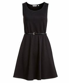 Black (Black) Black Belted Skater Dress for Valentine