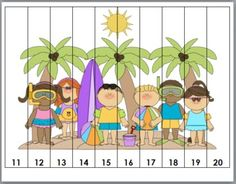 Summer Themed Counting Puzzles - Numbers 1-120 - Summer Activity