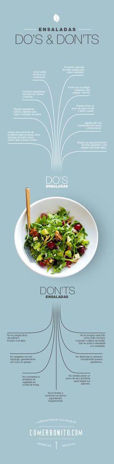 Do's and don'ts ensaladas. Sickart for ComerBonito.com