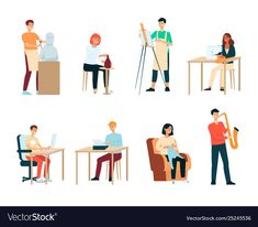 Set people with artistic occupations cartoon vector image on VectorStock Teaching Art, Teaching Ideas, Single Image, Cartoon Styles, Adobe Illustrator, Vector Free, Hobbies, Web Design, Pdf