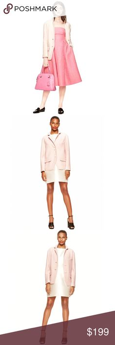 Kate Spade Madison Ave Collection Joey Coat Jacket Brand new with tags, women's size 8. Retails for $748! This Kate Spade Madison Ave Collection Joey Coat Jacket comes in the color Pumice, which is a beautiful pale pink blush color! Two button front closure, with two front pockets and one chest pocket. Such a classic piece that will be a staple in your Fall and Winter wardrobe for years! Effortless chic! 39% Viscose, 36% Polyester and 25% Wool. kate spade Jackets & Coats
