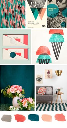 Colors I want for my mural- teal walls, peach and coral floral frames, chalkboard paint centers
