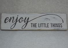 Rustic Distressed Enjoy The Little Things Reclaimed Wood Sign, Paris Grey & Black
