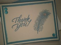 Embossed Peacock Feather Thank You Card by ComingUpCrafts