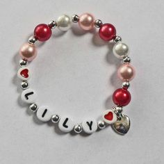 VALENTINE Bracelet Personalized Name Bracelet with HEART Charm Child Jewelry Party Favor Infant Children Kid Adult Sizes. $4.00, via Etsy.