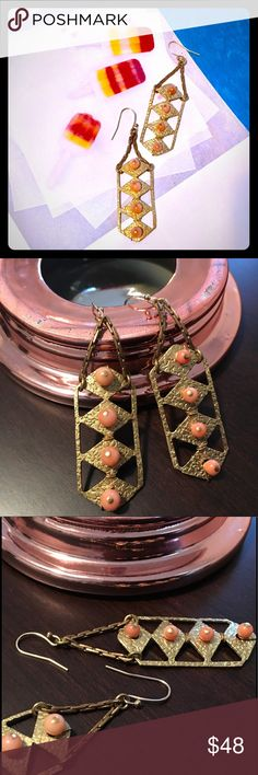 """🌙Lulu Frost Coral Dreamlink Earrings-Brand New Gold-tone brass earrings have pale coral glass beads. By designer Lulu Frost. Note, the beads are slightly smaller on one earring, although not something that is noticeable while being worn. 2 1/2"""" long. Lulu Frost Jewelry Earrings"""