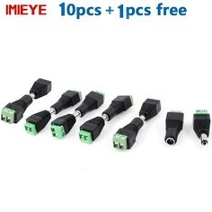IMIEYE 10 Pcs CCTV Cameras 2.1mm x 5.5mm Female Male DC Power Plug Adapter security welding DC male plugs surveillance system