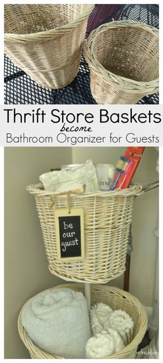 Old baskets can be made into extra storage that will fit perfectly under a pedestal sink.