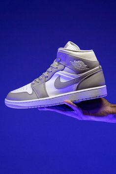 """If you want a reasonably accessible shoe that'll replicate the look of the Dior x Air Jordan 1 High, set your sights on the Air Jordan 1 Mid """"Linen."""" Its grey-and-white color block is nearly indistinguishable from Dior's version. Jordan 3, Grey And White, Air Jordans, High Top Sneakers, Dior, Shoes, Fashion, Moda, Zapatos"""
