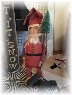 Primitive Santa, Primitive Christmas, Vintage Christmas, Elf On The Shelf, Holiday Decor, Home Decor, Decoration Home, Room Decor, Prim Christmas