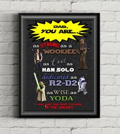 Star Wars Print, Han Solo, Gift for Him, Instant Download, Starwars Print, Dad Gift, Star Wars, Printable, Fathers Day Gift, Yoda, Wookiee by AdrianMarieDesigns on Etsy