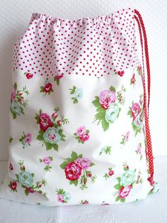 """Laundry /Lingerie Bag. 18"""" x 15.5"""" Love the vintage looking fabric and polka dot ribbon. Great gift idea!"""