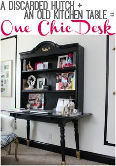 AWESOME idea! She combined two pieces of furniture she already had to make a super functional desk! How to Build a Desk (Using Furniture You Already Have)