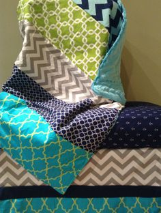 3 piece Crib bedding set with Gray, navy, aqua, lime