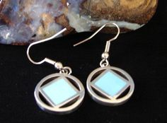 Narcotics Anonymous NA Turquoise Symbol Sterling Silver Hanging Earrings 615