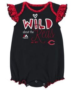 Majestic Cincinnati Reds Team Sparkle Creeper 2-Piece Set, Baby Girls (0-9 months) - Red 0-3 months