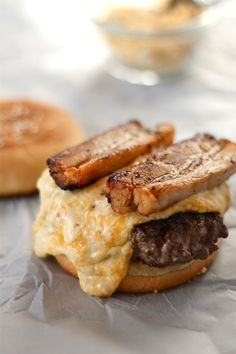 pimento cheese and pork belly burgers