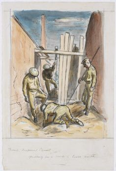image: Four uniformed soldiers on a bomb site. One is kneeling next to the hole, two others stand around, looking on. Thefourth soldier is preparing a winch in the background. Ww2 Bomb, Edward Ardizzone, Royal Engineers, World War Two, Soldiers, Wwii, Squad, British, England