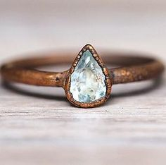 Aquamarine Droplet and Copper Ring