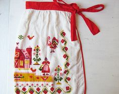 Vintage Folk Apron - Terry Cloth Half Apron  - Barn - Farmhouse - Farm -  Red, Yellow, Pink - Fashion Manor