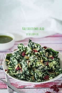Kale cauliflower salad with cilantro parmesan dressing. Done in 15 minutes. So good you will be making this over and over again.