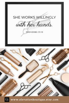 "Are you looking for gift ideas for your hair stylist? This inspirational quote says ""She works willingly with her hands"" and has scissors and a comb in the background. It's the perfect gift for a Christian hair stylist! Don't wait! Order yours now! #stylehair #hairstylistquotesbusiness ##hairquotesstylistinspiration #hairstylistquotesinspiration #hairstylistquotes #hairquotesstylisthairdresser #hairstylistdecor #hairstylistart #hairstylistgiftsideas #giftforhairstylist #hairstylistgifts Bible Quotes For Women, Woman Quotes, Beauty Skin, Health And Beauty, Bible Verse Decor, Barber Gifts, Hairstylist Quotes, Hair Stylist Gifts, Beauty Salon Decor"