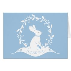 Bunny Boys Baby Shower Thank You Note Card - baby gifts child new born gift idea diy cyo special unique design