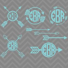 Adorable Arrows Monogram Frame Set Cutting Files in Svg, Eps, Dxf, Png, and Studio for Cricut & Silhouette Cricut Monogram, Diy Monogram, Monogram Shirts, Monogram Decal, Monogram Frame, Monogram Design, Silhouette Vinyl, Silhouette Machine, Silhouette Cameo Projects