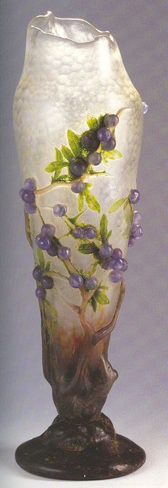 """Daum - """"Prunelles"""" Vase. Cameo Glass with Applied """"Berries"""". Circa 1909."""