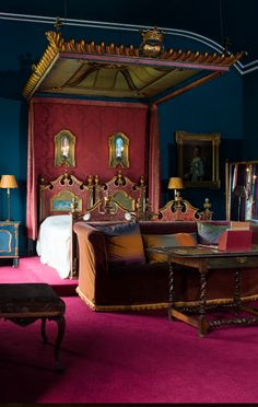 Mount Stewart. The newly restored 'Rome' bedroom, epitomising Edith, Lady Londonderry's bold colour sense. ©National Trust/Elaine Hill