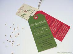 FAIRE-PART DE MARIAGE ORIGINAL Champêtre Potager tomates cerises papier recyclé Rouge vert artichaud lin Sachet de graines Réalisé sur mesure par www.dansmestiroirs.com