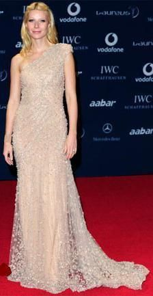Who made Gwyneth Paltrow's nude one shoulder beaded dress that she wore to the 2010 Laureus World Sports Awards which was held in Abu Dhabi? Dress – Elie Saab Spring 2010 Couture